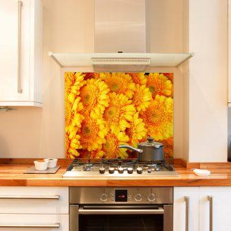 Gold Gerbera kitchen splashback