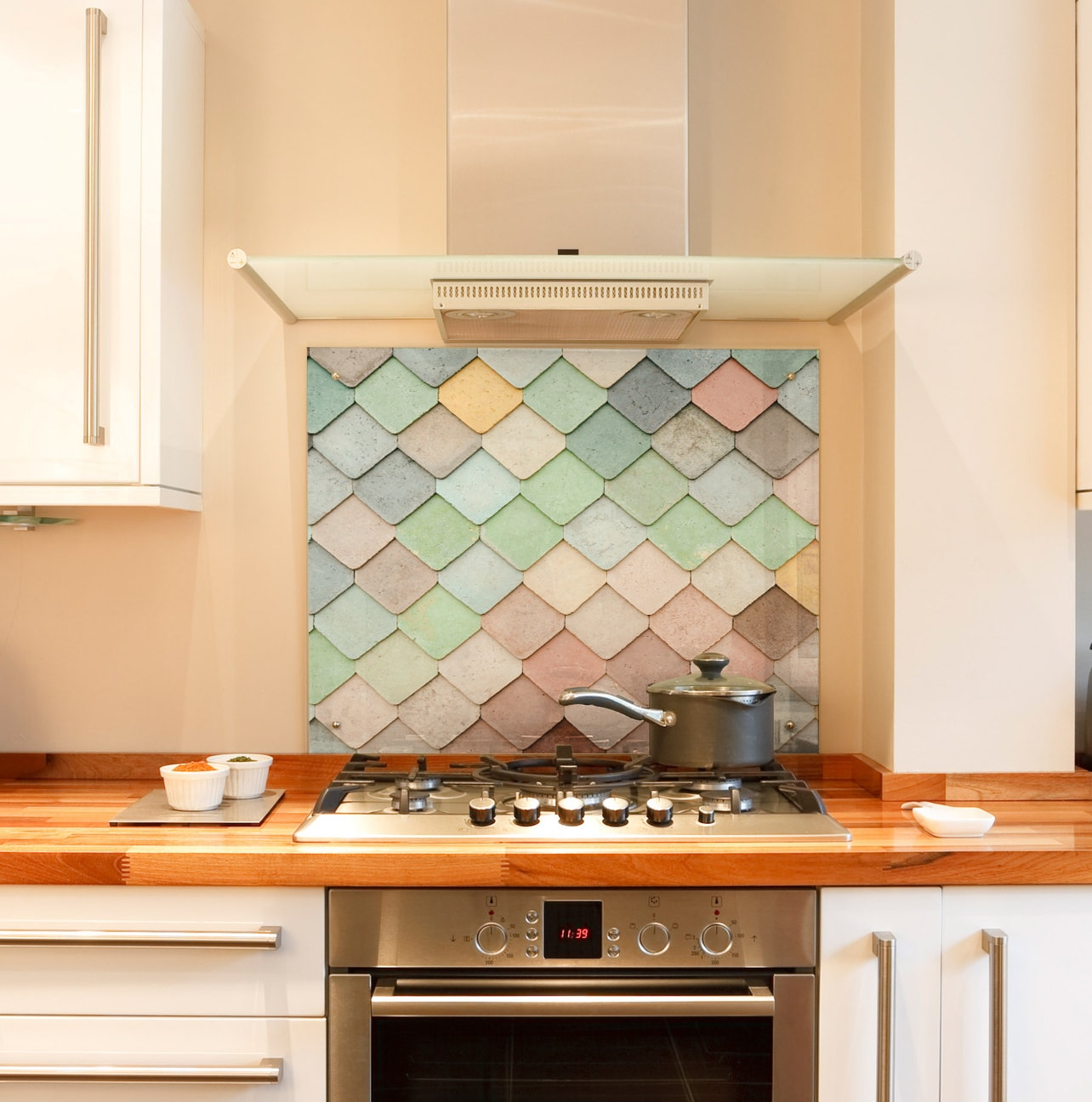Pastel Tiles Kitchen Splashback