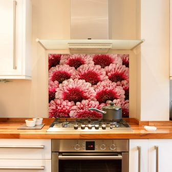Pink Gerbera kitchen splashback