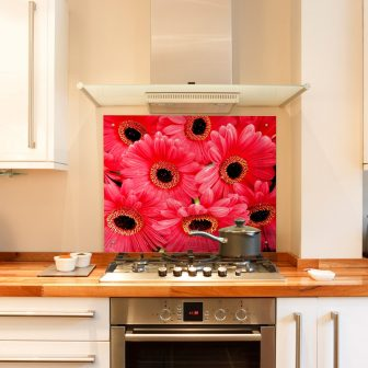 Red Gerbera kitchen splashback