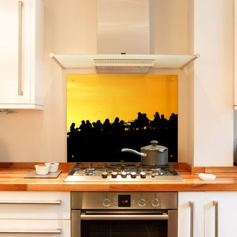 Silhouettes at sunset kitchen splashback