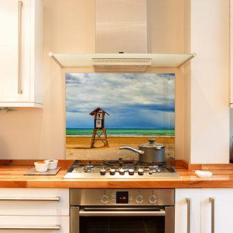 Beach printed glass splashback