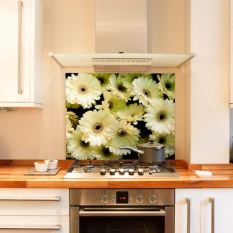 White Gerbera kitchen splashback