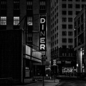 American Diner at Night Glass Splashback