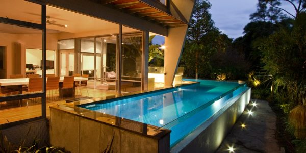 Swimming Pool Glass Wall